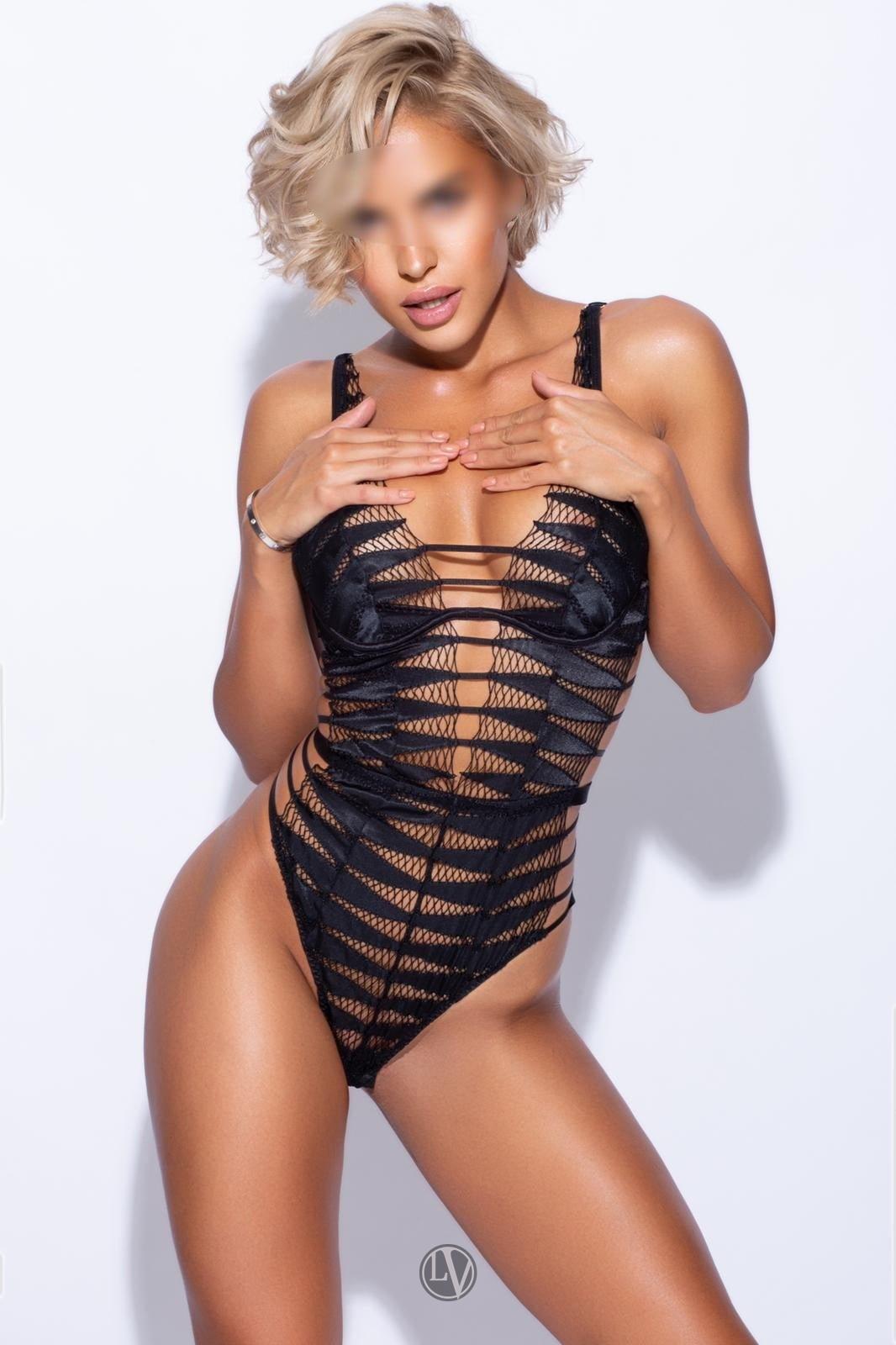 Model escort Ashley in her sexy designer lingerie.