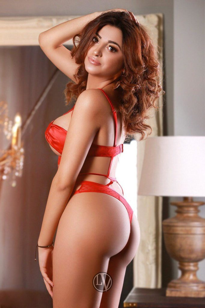 Burty Brunette escort Prudence is stunning in her red underwear set.