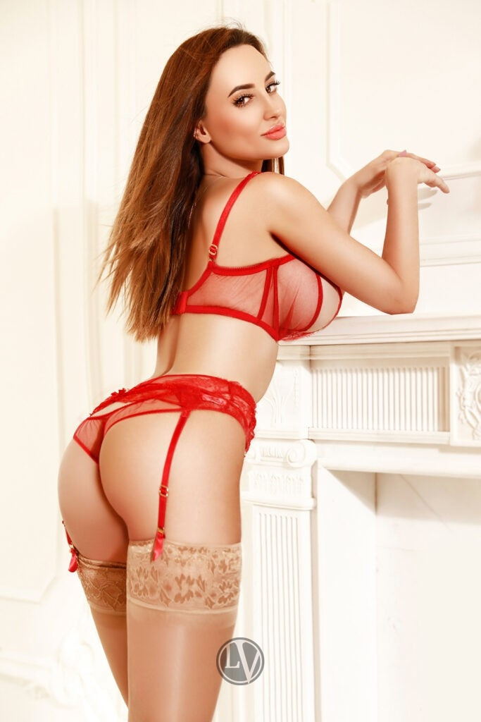 Asia in her red lingerie and stockings