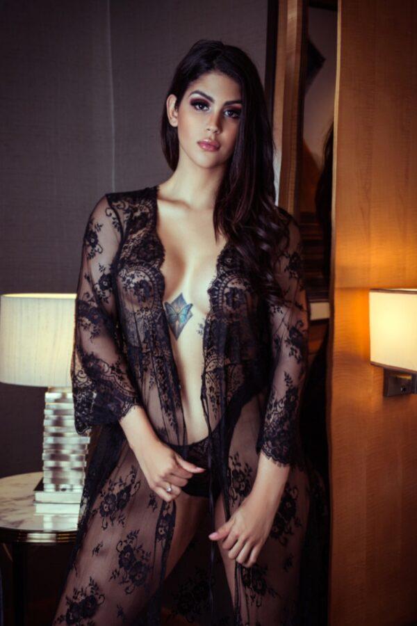 Elite Brazilian escort Alison in her sexy night gown.